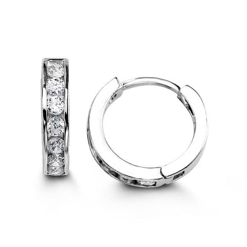 Sterling Silver Huggies with CZ 5106