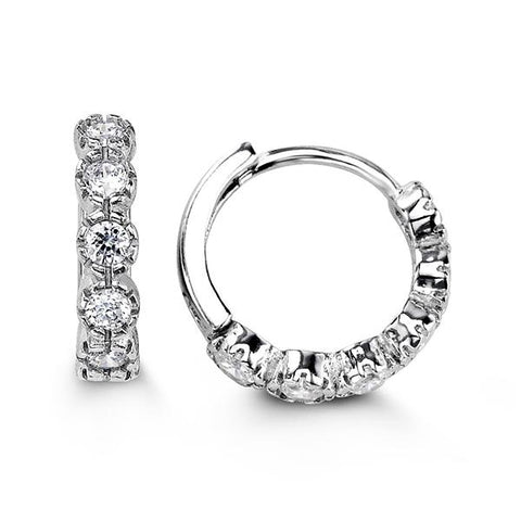 Sterling Silver Huggies with CZ 5108