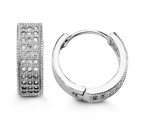 Sterling Silver Huggies with CZ 5110