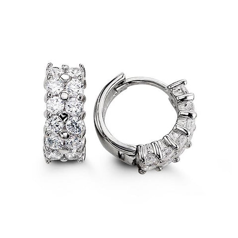Sterling Silver Huggies with CZ 5111