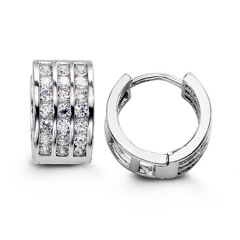Sterling Silver Huggies with CZ 5113