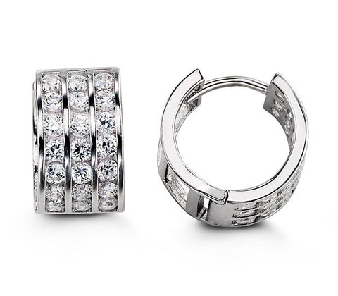 Sterling Silver Huggies with CZ 5114