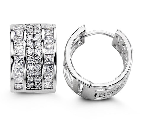 Sterling Silver Huggies with CZ 5115