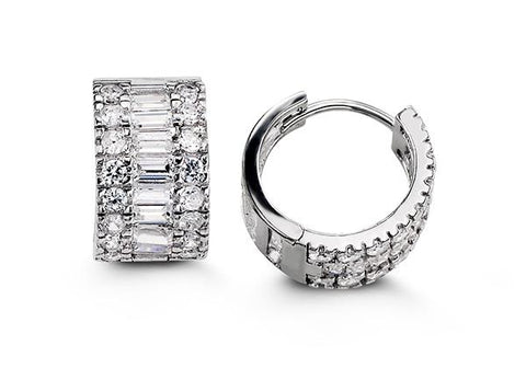Sterling Silver Huggies with CZ 5116