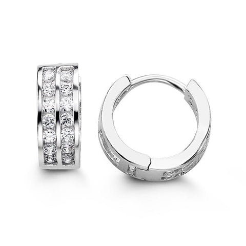 Sterling Silver Huggies with CZ 5117