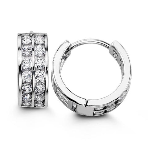 Sterling Silver Huggies with CZ 5118