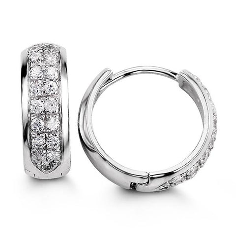 Sterling Silver Huggies with CZ 5119