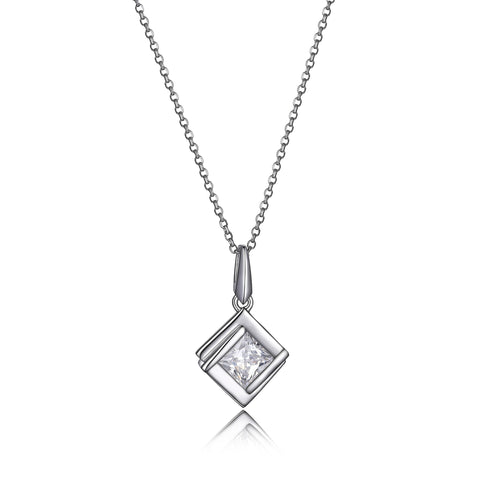 Elle CZ Square Solitaire Necklace