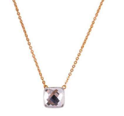 Steelx Rose Plated Pink Glass Necklace