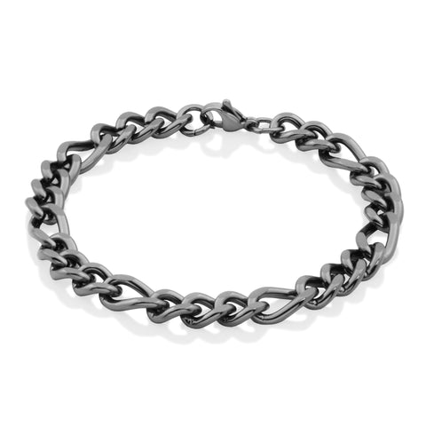 Steelx 9mm Black Figaro Bracelet