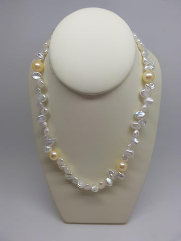 White with Yellow Pearl Necklace
