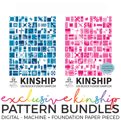 PDF: Kinship: 100 Block Fusion Sampler - BUNDLE - Machine Piece + Foundation Paper Piece