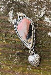 Happy Heart - Rhodonite and Sterling Silver Pendant