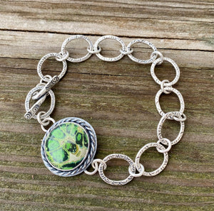 Artisan Glass and Sterling Textured Chain Bracelet