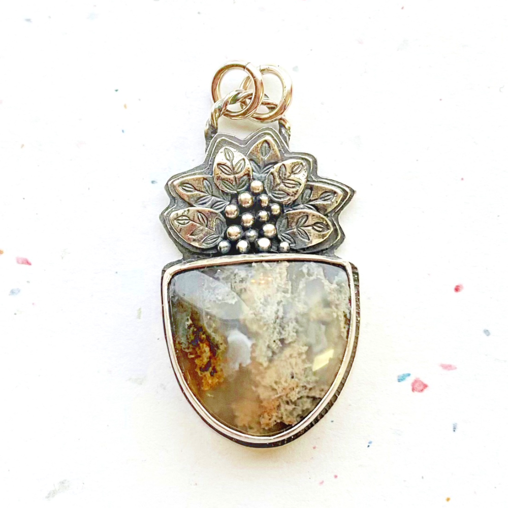 Leafy - North Ridge Plume Agate and Sterling Silver Pendant