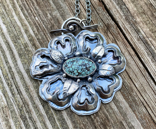 Turquoise and Sterling Flower Necklace