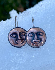 Face the Moon - Copper and Sterling Mixed Metal Earrings