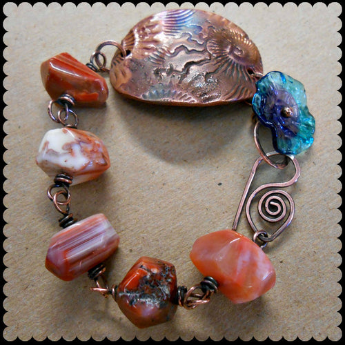 Seashore Treasure - Faceted Agate, Lampwork, and Copper Bracelet