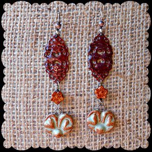 Autumn Harvest  - Ceramic, Copper, Czech Glass & Torch-fired Enamel Earrings