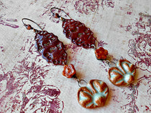 Load image into Gallery viewer, Autumn Harvest  - Ceramic, Copper, Czech Glass & Torch-fired Enamel Earrings