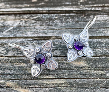 Load image into Gallery viewer, Leafy Cross  with Amethyst - Sterling Silver & Gemstone Earrings