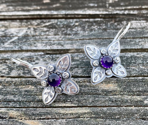 Leafy Cross  with Amethyst - Sterling Silver & Gemstone Earrings