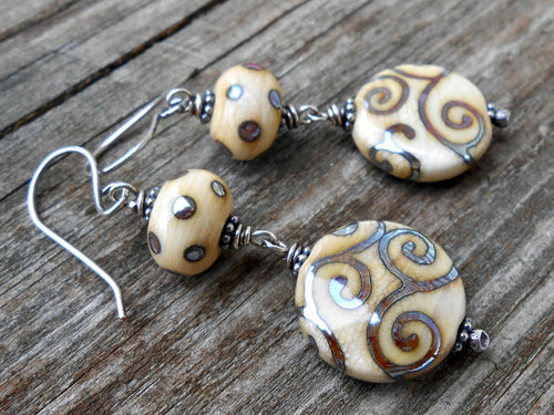 Metallic Dots and Swirls - Artisan Glass and Sterling Earrings