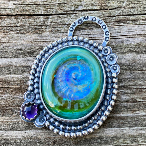 Stormy Ammonite Swirl - Artisan Glass, Amethyst and Sterling Silver Pendant