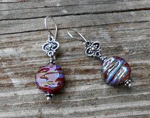 Load image into Gallery viewer, Swirled Wine - Artisan Glass and Sterling Silver Earrings
