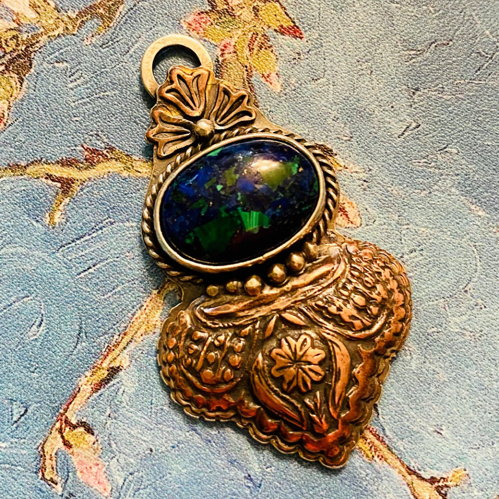 Turkish Night - Azurite and Mixed Metals Pendant