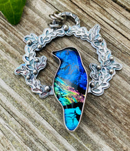 Load image into Gallery viewer, Magpie- Dichroic Glass and Sterling Silver Necklace