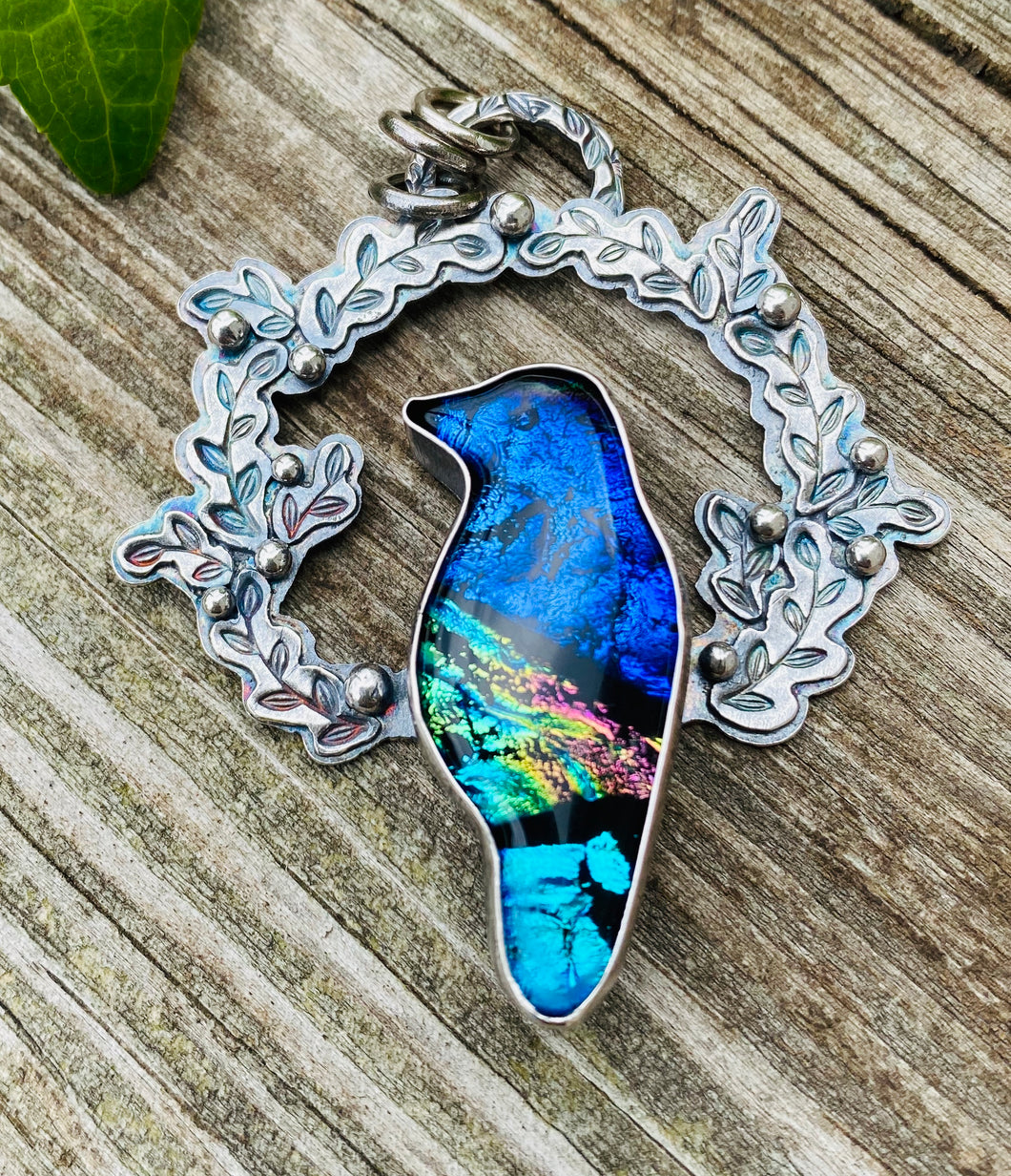 Magpie- Dichroic Glass and Sterling Silver Necklace