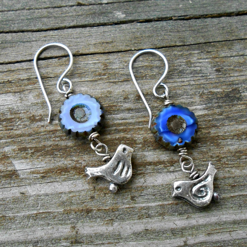 Blue Birds - Czech Glass, Pewter and Sterling Earrings