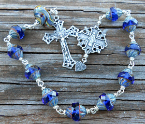 Pocket Rosary - Czech Glass, Artisan Lampwork Glass & Sterling Silver