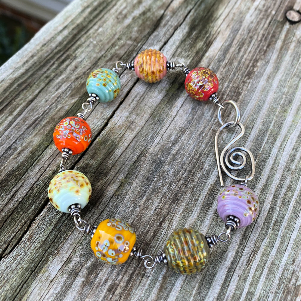 Shades of Autumn - Artisan Glass and Sterling Silver Bracelet
