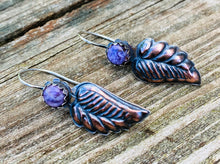 Load image into Gallery viewer, Copper Leaves - Mixed Metal and Purple Charoite Earrings