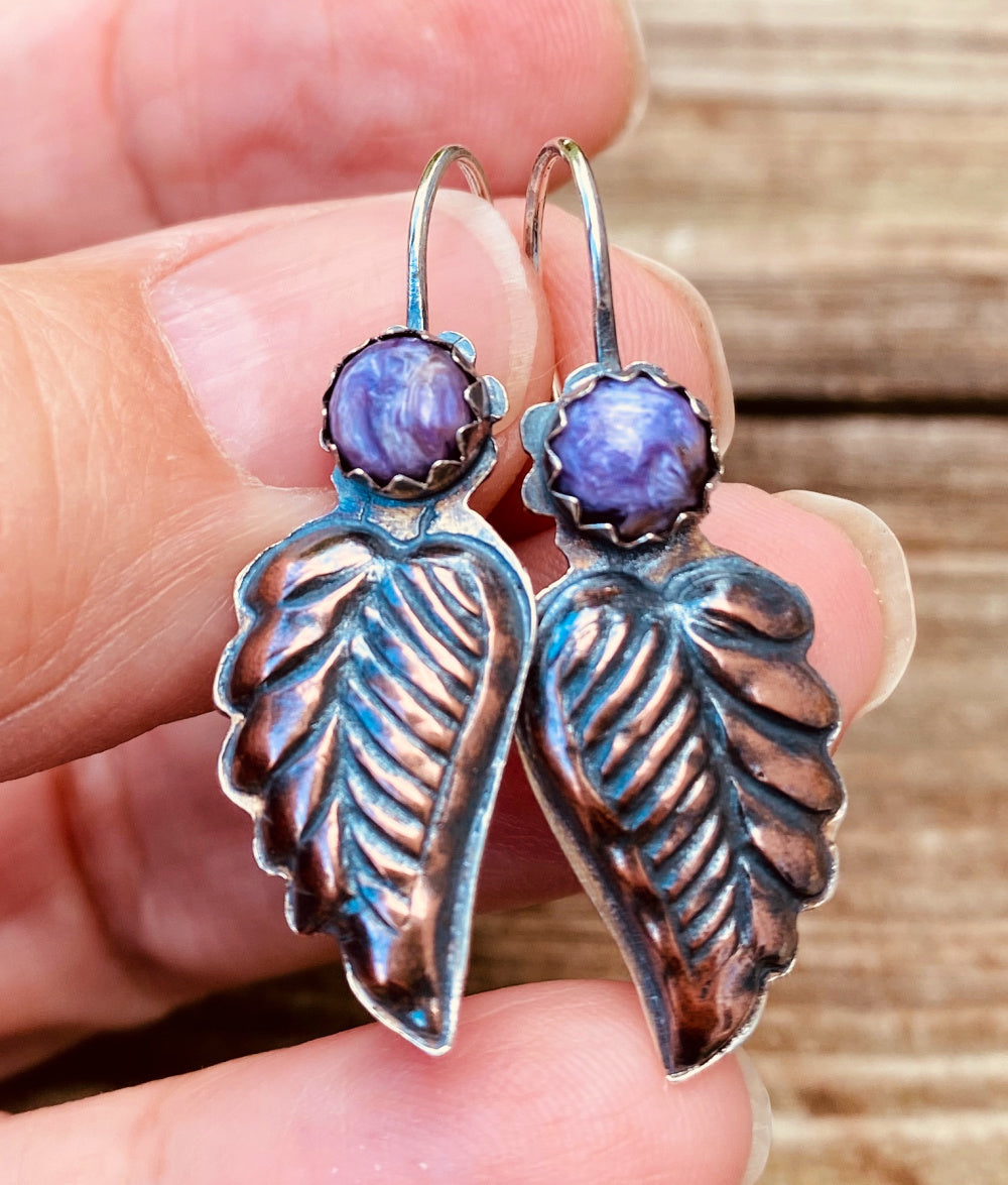 Copper Leaves - Mixed Metal and Purple Charoite Earrings