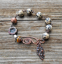 Load image into Gallery viewer, Dalmation Jasper and Copper Bracelet
