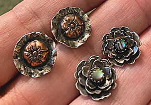 Abalone Shell and Sterling Flower Stud Earrings