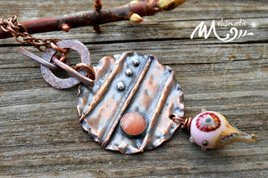 Peachy - Copper, Artisan Glass and Coral Necklace