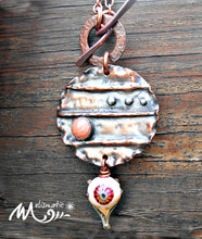 Load image into Gallery viewer, Peachy - Copper, Artisan Glass and Coral Necklace