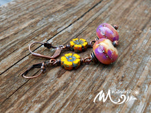 Load image into Gallery viewer, Golden Sunset - Artisan Glass, Czech Glass and Copper Earrings