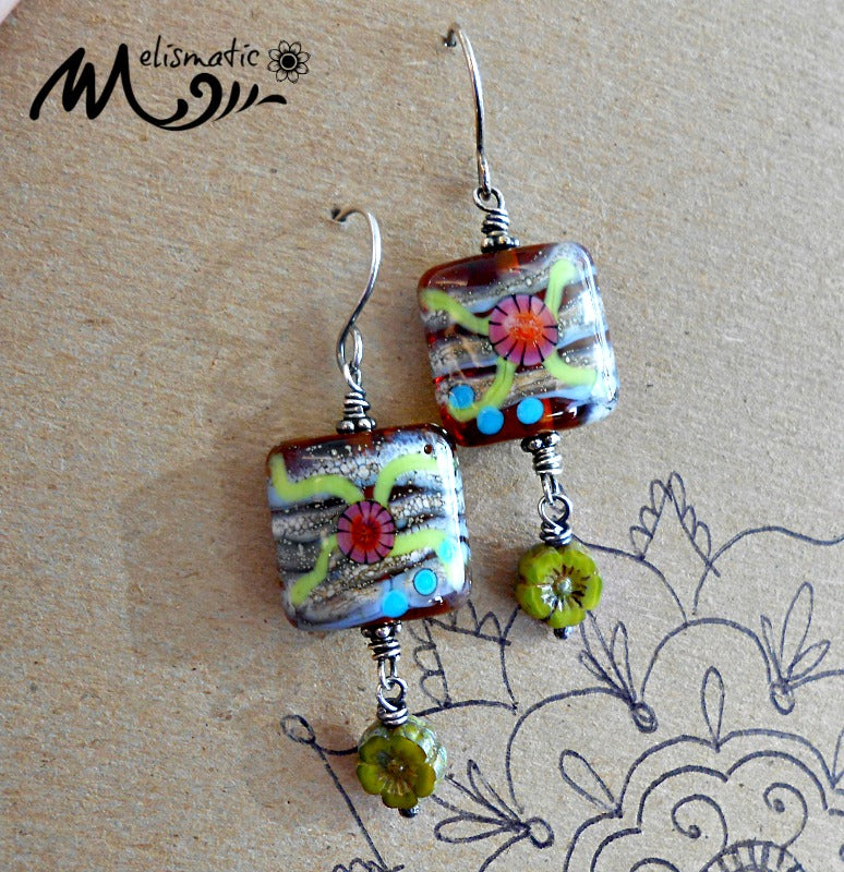 Gardens - Artisan Glass, Czech Glass and Sterling Silver Earrings