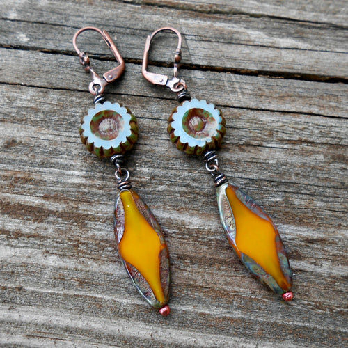 Teal and Gold - Czech Glass and Copper Earrings