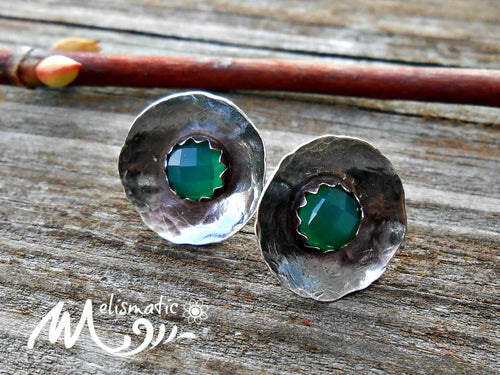 Green Chalcedony and Sterling Post Earrings