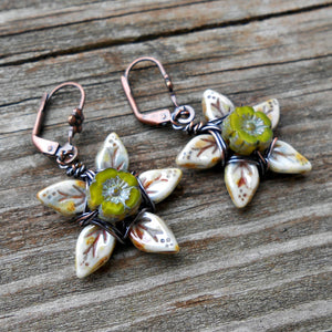Posies - Czech Glass and Copper Earrings