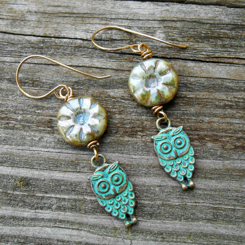 Green Owls - Czech Glass & Copper Earrings