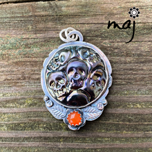 Load image into Gallery viewer, Gothic Skulls Artisan Glass and Sterling Silver Pendant