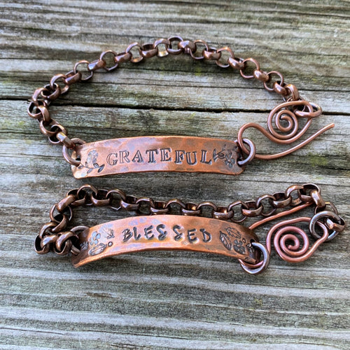 Inspiration Bracelets -Hand Forged/Stamped Copper Bracelets