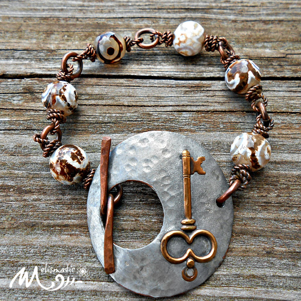 Another Key - Mixed Metal and Dzi Agate Bracelet